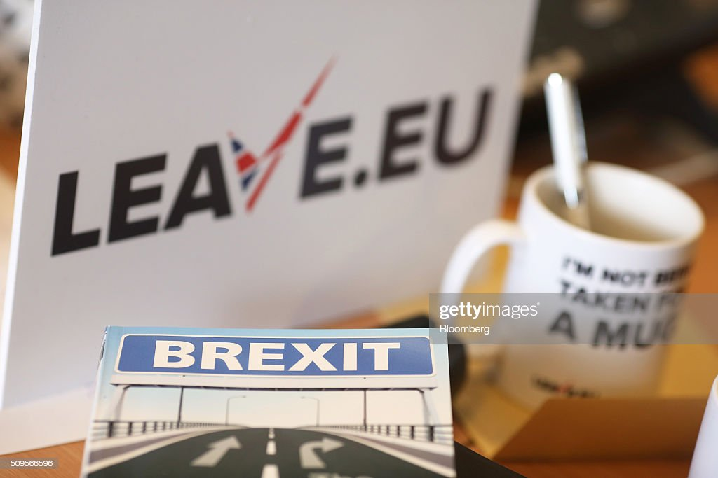 A 'Brexit' leaflet sits on a desk inside the Leave.EU campaign headquarters, a party campaigning against Britain's membership of the European Union, in London, U.K., on Thursday, Feb. 11, 2016. Britain's economy could be thrown off track by the planned referendum on European Union membership, according to the Confederation for British Industry. Photographer: Chris Ratcliffe/Bloomberg via Getty Images