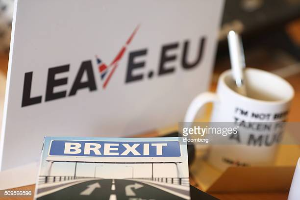 A 'Brexit' leaflet sits on a desk inside the LeaveEU campaign headquarters a party campaigning against Britain's membership of the European Union in...