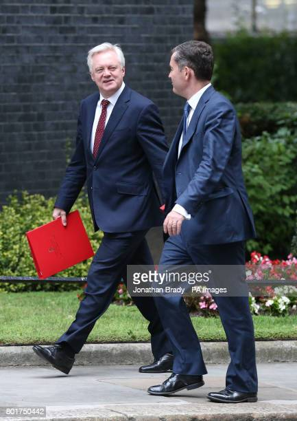 Brexit Secretary David Davis and Work and Pensions Secretary David Gauke arriving at 10 Downing Street in London for a Cabinet meeting