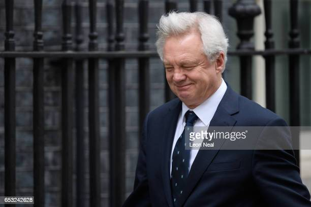 Brexit Secretary David Davis arrives at number 10 Downing Street ahead of a cabinet meeting on March 14 2017 in London England Following a vote in...