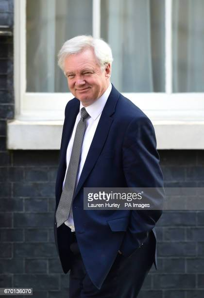 Brexit Secretary David Davis arrives in Downing Street London after Theresa May said a snap general election is necessary to prevent opposition...