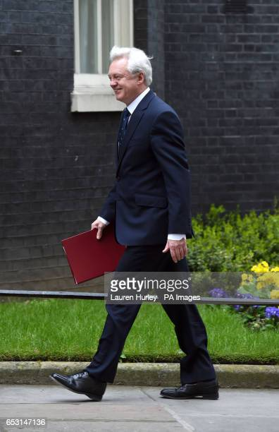 Brexit Secretary David Davis arriving at 10 Downing Street London for the weekly cabinet meeting