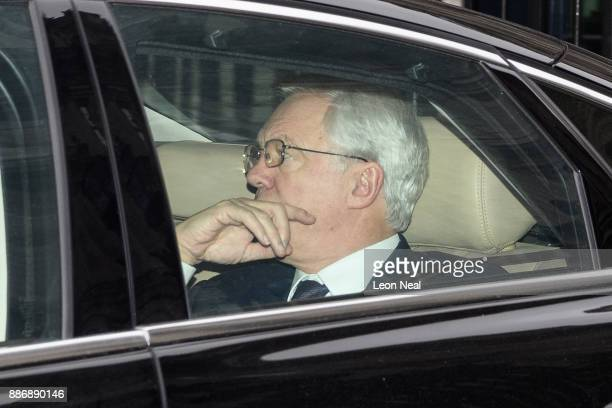 Brexit Secretary David Davis leaves Downing Street ahead of the weekly Prime Minister's Questions session in the House of Commons on December 6 2017...