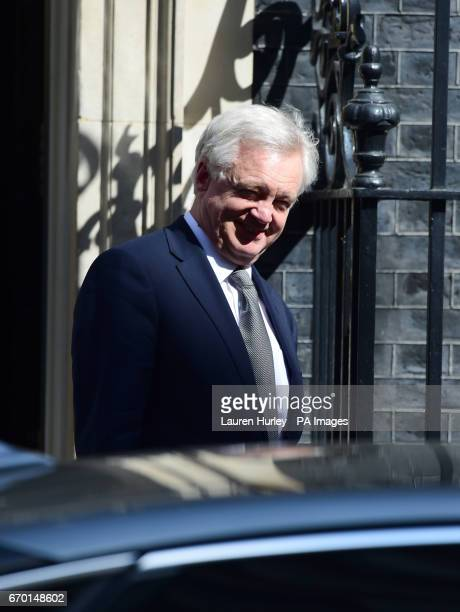 Brexit Secretary David Davis leaves Downing Street London after Theresa May said a snap general election is necessary to prevent opposition parties...