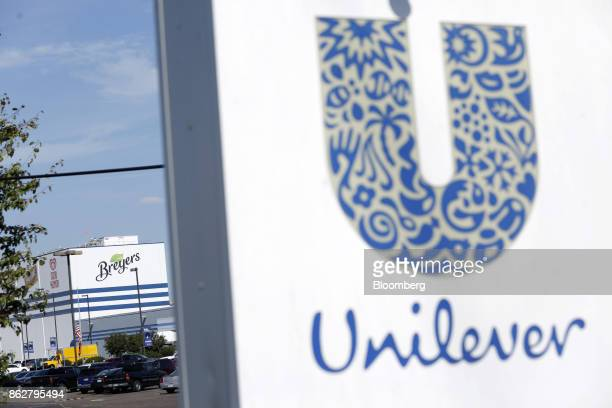 Breyers brand signage is displayed outside the Unilever Plc facility in Covington Tennessee US on Tuesday Oct 3 2017 Unilever is scheduled to release...