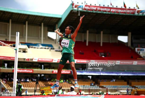 Breyton Poole of South Africa celebrates clearing the bar during the final of the boys high jump on day four of the IAAF U18 World Championships at...