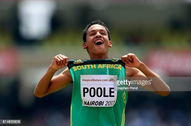 Breyton Poole of South Africa celebrates winning in the boy's high jump final during day four of the IAAF U18 World Championships on July 15 2017 in...
