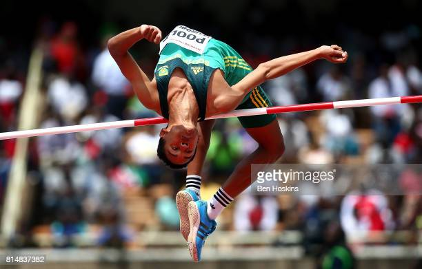 Breyton Poole of South Africa in action during the final of the boys high jump on day four of the IAAF U18 World Championships at the Kasarani...