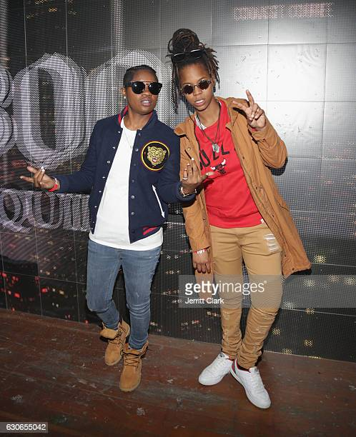 BreZ and Gizzle attend Slim Jxmmi Of Rae Sremmurd 25th Birthday Bash at Think Tank Gallery on December 28 2016 in Los Angeles California