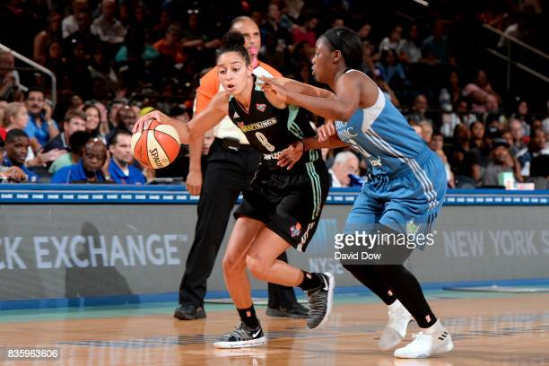 Bria Hartley of the New York Liberty handles the ball against Alexis Jones of the Minnesota Lynx during the WNBA game on August 20 2017 at the...