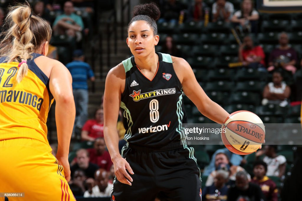 Bria Hartley #8 of the New York Liberty handles the ball during the game against the Indiana Fever during a WNBA game on August 23, 2017 at Bankers Life Fieldhouse in Indianapolis, Indiana.