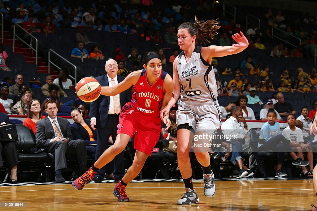 <a gi-track='captionPersonalityLinkClicked' href=/galleries/search?phrase=Bria+Hartley&family=editorial&specificpeople=7334401 ng-click='$event.stopPropagation()'>Bria Hartley</a> #8 of the Washington Mystics drives to the basket against Haley Peters #7 of the San Antonio Stars on June 29, 2016 at the Verizon Center in Washington, DC.