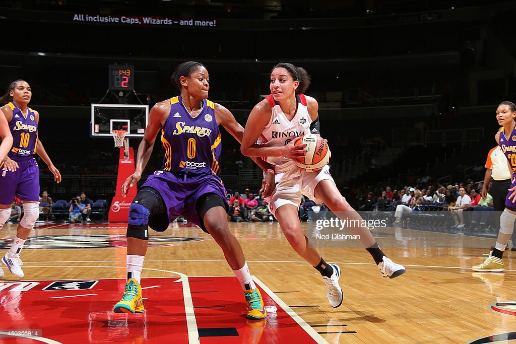 Bria Hartley of the Washington Mystics handles the ball against the Los Angeles Sparksthe Washington Mystics at the Verizon Center on June 1 2014 in...