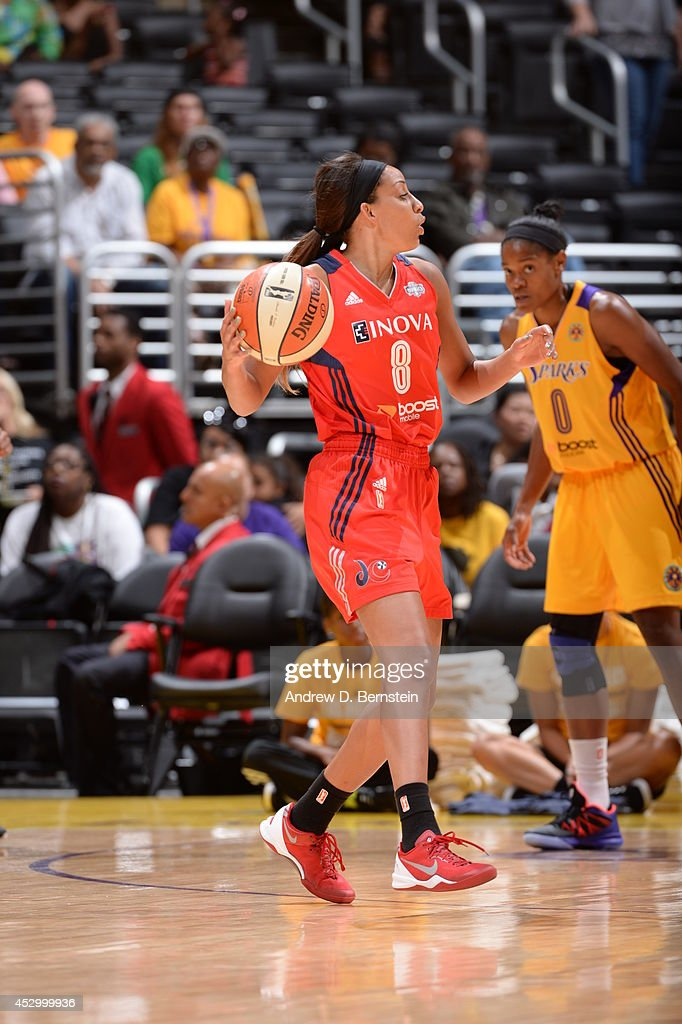<a gi-track='captionPersonalityLinkClicked' href=/galleries/search?phrase=Bria+Hartley&family=editorial&specificpeople=7334401 ng-click='$event.stopPropagation()'>Bria Hartley</a> #8 of the Washington Mystics handles the ball against the Los Angeles Sparks at STAPLES Center on July 17, 2014 in Los Angeles, California.