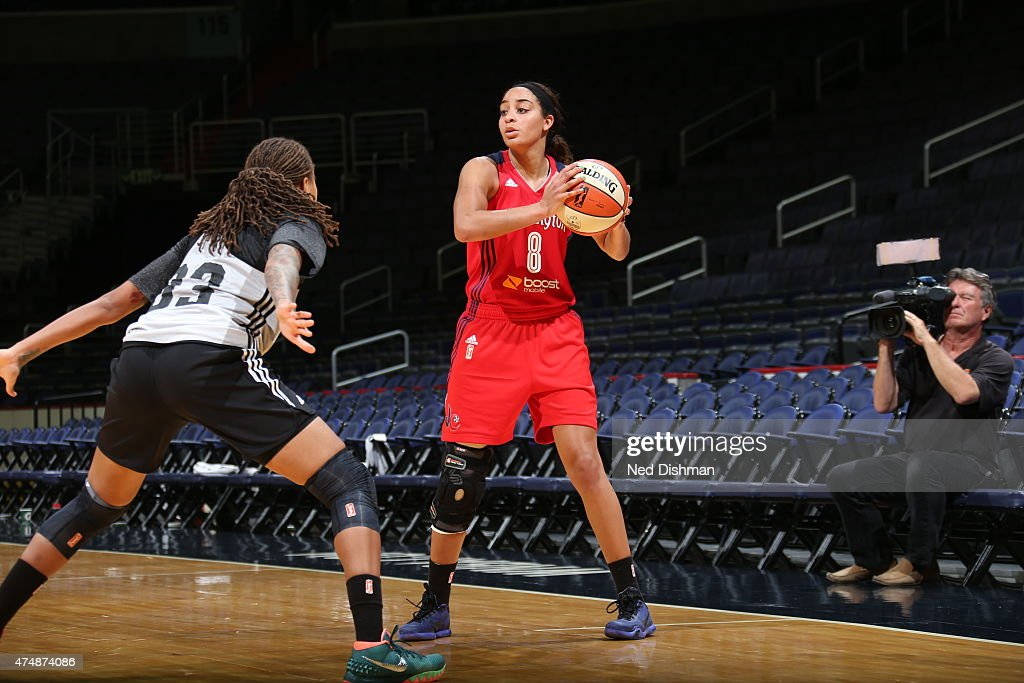 Bria Hartley of the Washington Mystics handles the ball against the Minnesota Lynx during an Analytic Scrimmage at the Verizon Center on May 26 2015...