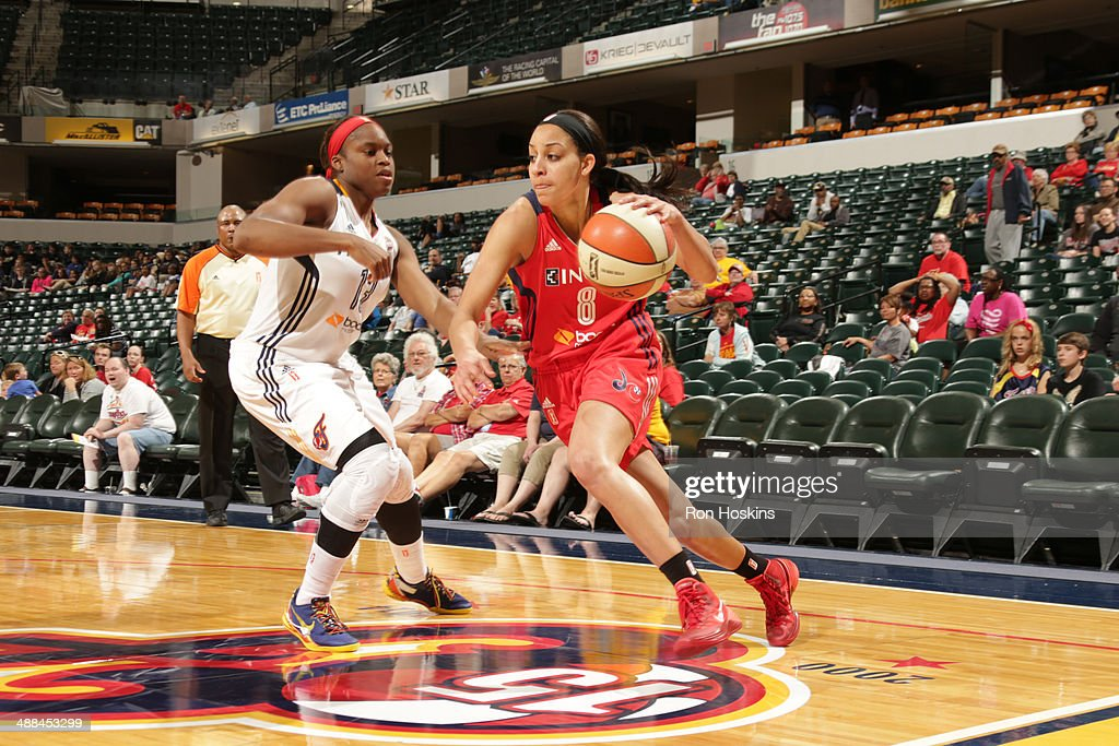 Bria Hartley of the Washington Mystics handles the ball against the Indiana Fever during the WNBA preseason game on May 6 2014 at Bankers Life...