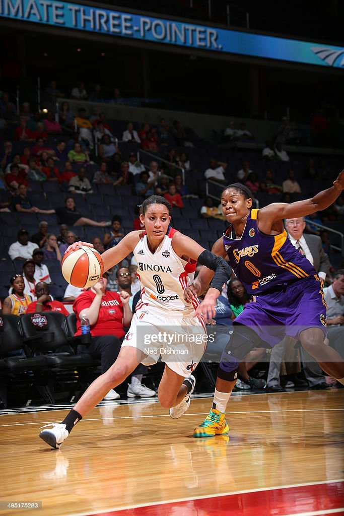 Bria Hartley of the Washington Mystics handles the ball against the Los Angeles Sparks at the Verizon Center on June 1 2014 in Washington DC NOTE TO...