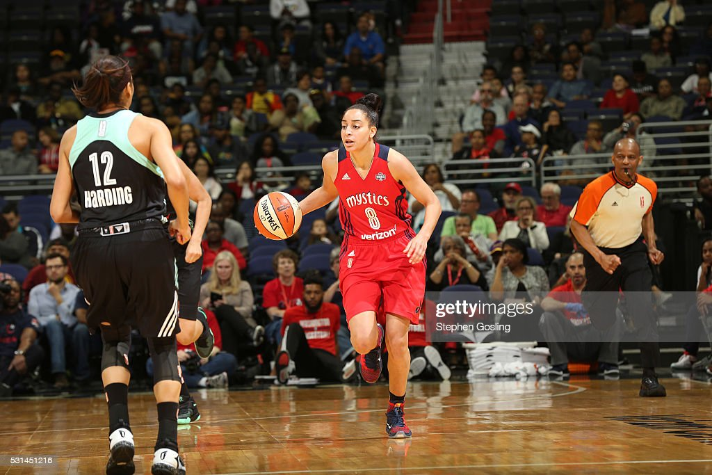 Bria Hartley of the Washington Mystics handles the ball against the New York Liberty on May 14 2016 at Verizon Center in Washington DC NOTE TO USER...