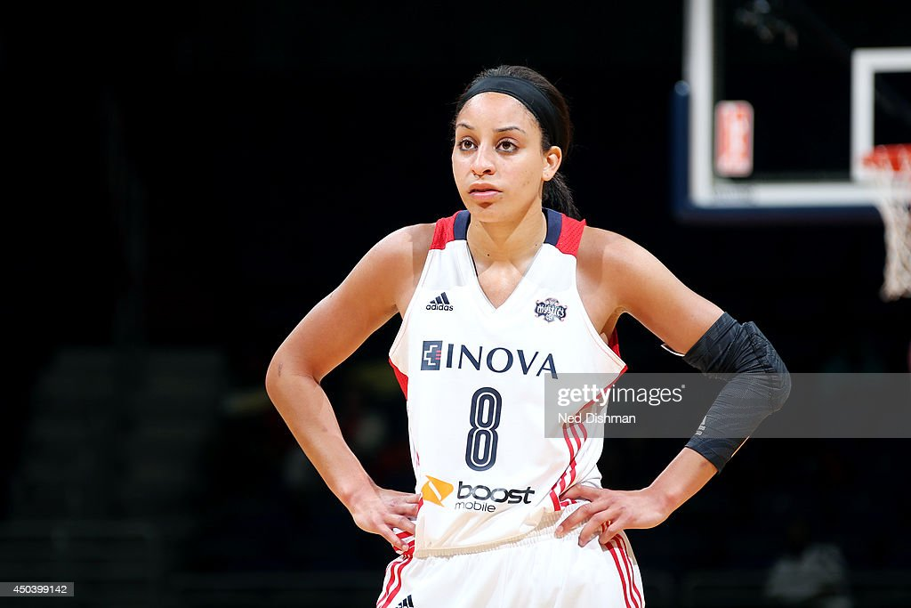 Bria Hartley of the Washington Mystics looks on during a game against the Indiana Fever at the Verizon Center on June 6 2014 in Washington DC NOTE TO...