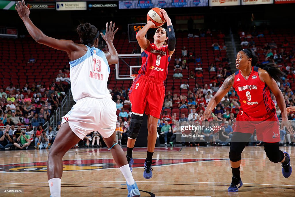 Bria Hartley of the Washington Mystics shoots against Aneika Henry of the Atlanta Dream during a game on May 23 2015 at KFC YUM Center in Louisville...