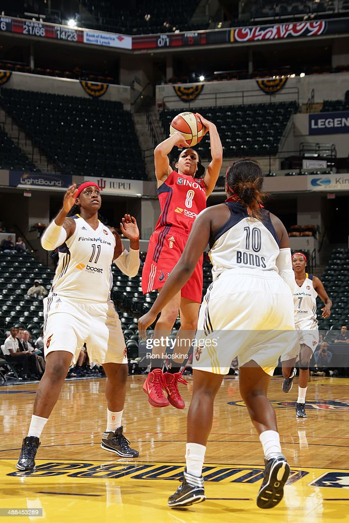 Bria Hartley of the Washington Mystics shoots against the Indiana Fever during the WNBA preseason game on May 6 2014 at Bankers Life Fieldhouse in...