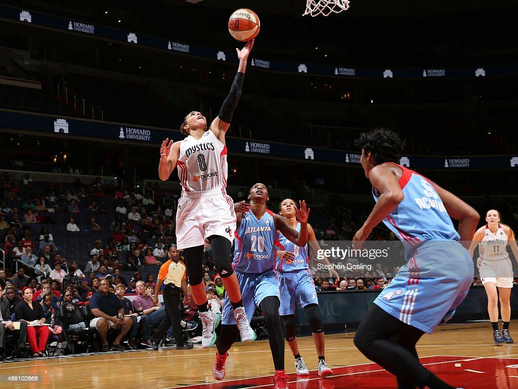 Bria Hartley of the Washington Mystics shoots the ball against the Atlanta Dream on September 13 2015 at the Verizon Center in Washington DC NOTE TO...