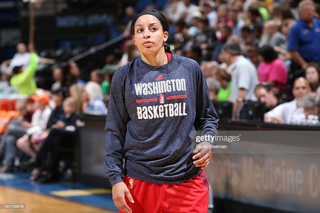 Bria Hartley of the Washington Mystics warms up before the game against the Minnesota Lynx on June 20 2014 at Target Center in Minneapolis Minnesota...