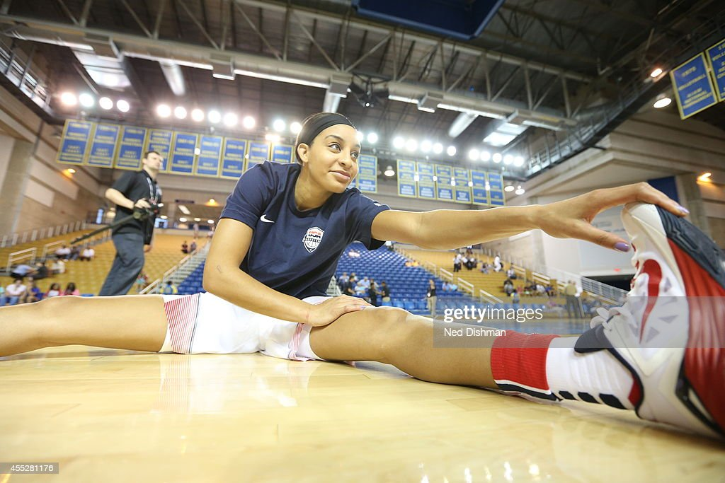 <a gi-track='captionPersonalityLinkClicked' href=/galleries/search?phrase=Bria+Hartley&family=editorial&specificpeople=7334401 ng-click='$event.stopPropagation()'>Bria Hartley</a> #26 stretches pregame during the Women's Senior U.S. National Team Red vs White game on September 11, 2014 in Newark, DE.