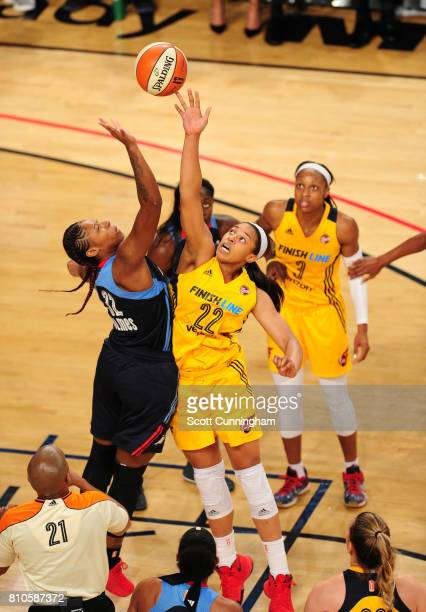 Bria Holmes of the Atlanta Dream goes for the jump ball against Erica McCall of the Indiana Fever on July 7 2017 at Hank McCamish Pavilion in Atlanta...