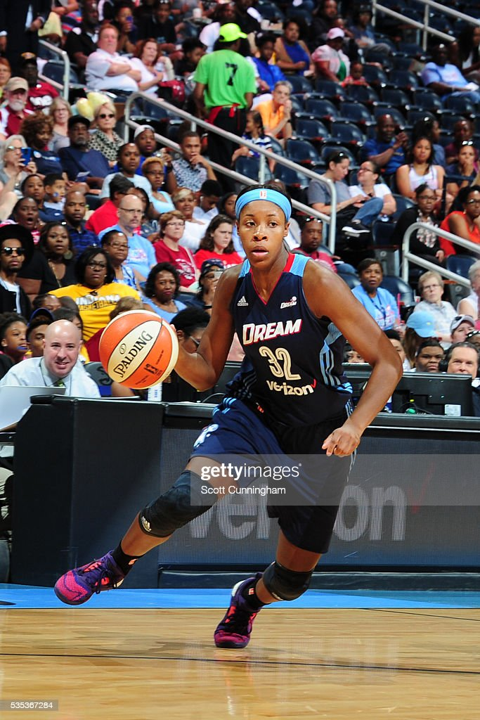 Bria Holmes #32 of the Atlanta Dream handles the ball against the Indiana Fever on May 29, 2016 at Philips Arena in Atlanta, Georgia.