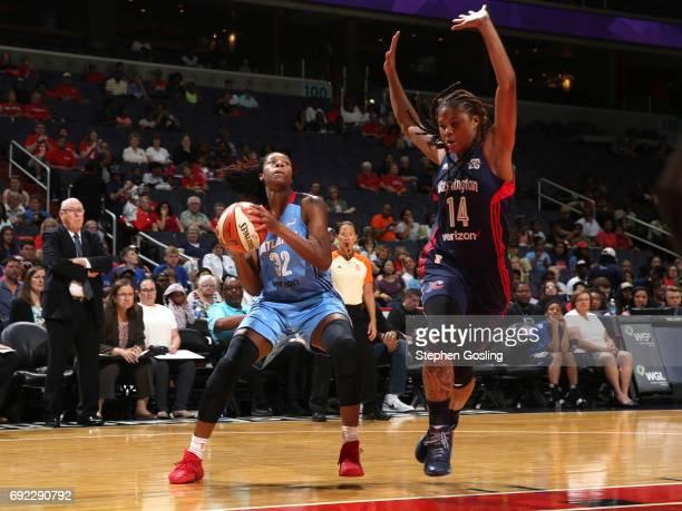 Bria Holmes of the Atlanta Dream makes a move against the Washington Mystics on June 4 2017 at Verizon Center in Washington DC NOTE TO USER User...