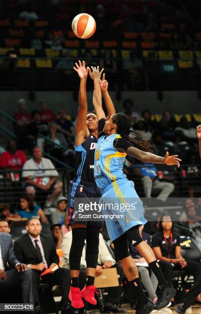 Bria Holmes of the Atlanta Dream shoots the ball against Jessica Breland of the Chicago Sky on June 23 2017 at Hank McCamish Pavilion in Atlanta...