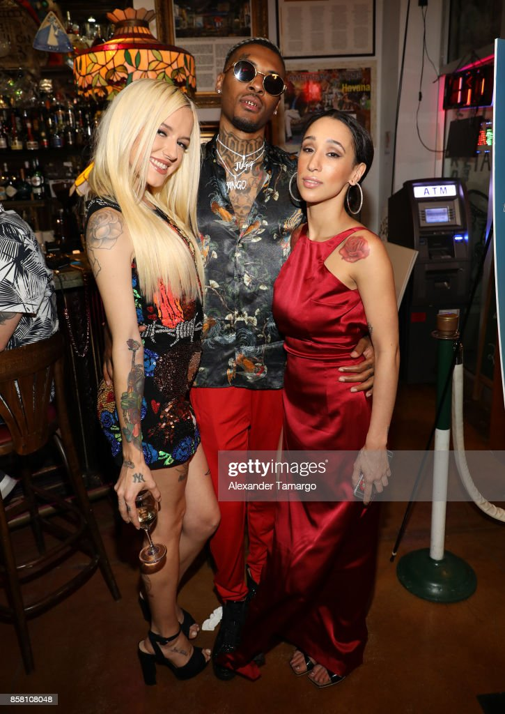 Bria Vinaite, Coca Vango and Mela Murder are seen at CubaOcho during 'THE FLORIDA PROJECT' Miami Premiere after party on October 5, 2017 in Miami, Florida.