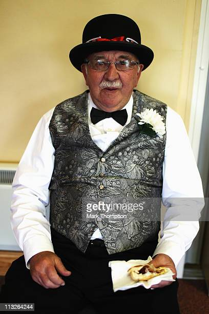 Brian Abbott aged 77 enjoys his champagne breakfast in the village hall as they prepare to celebrate the marriage of Prince William to Catherine...
