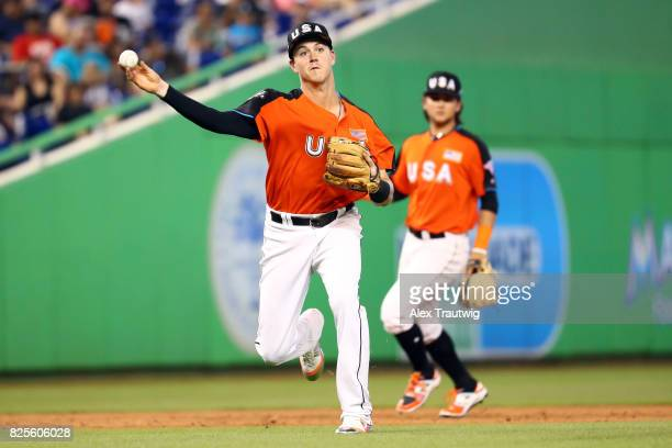 Brian Anderson of Team USA throws to first base for an out during the SirusXM AllStar Futures Game at Marlins Park on Sunday July 9 2017 in Miami...