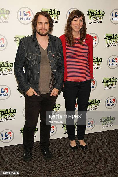 Brian Aubert and Nikki Monninger from the band Silversun Pickups pose at Radio Station 1045 iHeartRadio Performance Theater June 7 2012 in Bala...