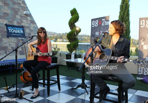 Brian Aubert and Nikki Monninger of Silversun Pickups perform at The Historic Hollywood Tower on May 16 2012 in Hollywood California