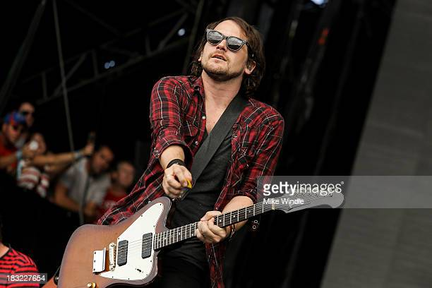 Brian Aubert of Silversun Pickups performs onstage during Day 2 of the 2013 Austin City Limits Music Festival at Zilker Park on October 5 2013 in...
