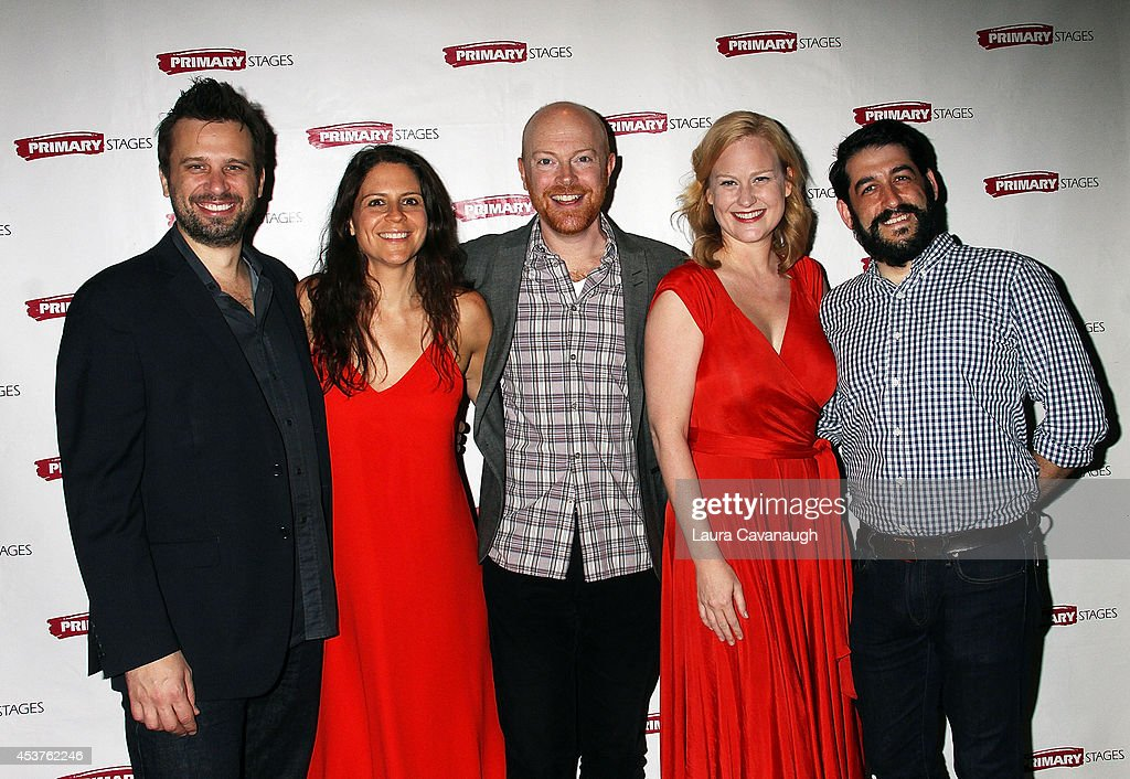 Brian Avers, Katie Kreisler, Jeff Biehl, Heidi Armbruster and Evan Cabnet attend the 'Poor Behavior' Opening Night after party at Casa Nonna on August 17, 2014 in New York City.
