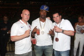 Brian Axelrod Memphis Bleek and Ron Berkowitz attend D'USSE VIP Lounge and Riser at On The Run Tour at Sunlife Stadium on June 25 2014 in Miami...