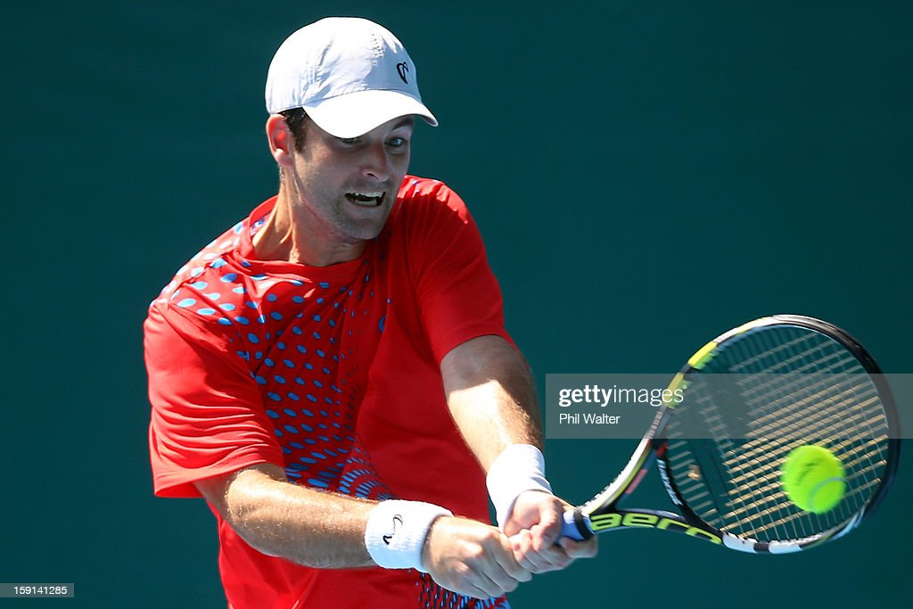 Brian Baker of the USA plays a backhand in his second round match against Jesse Levine of Canada during day three of the Heineken Open at ASB Tennis Centre on January 9, 2013 in Auckland, New Zealand.