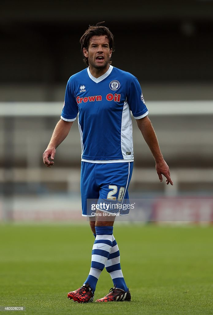 Brian BarryMurphy of Rochdale in action during the pre season friendly match between Rochdale and Huddersfield Town at Spotland on July 18 2015 in...