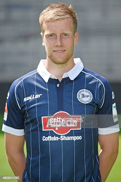 Brian Behrendt poses during the Second Bundesliga team presentation of Arminia Bielefeld at Schueco Arena on July 16 2015 in Bielefeld Germany