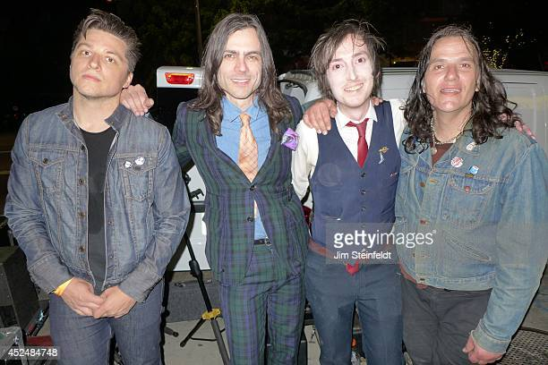 Brian Bell of the band Weezer wearing a bluegreen suit poses for a portrait with his new band The Relationship at The Satellite in Los Angeles...