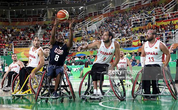 Brian Bell of USA and Alejandro Zarzuela of Spain in action during Men's Wheelchair Basketball Gold Medal match between Spain and USA on day 10 of...