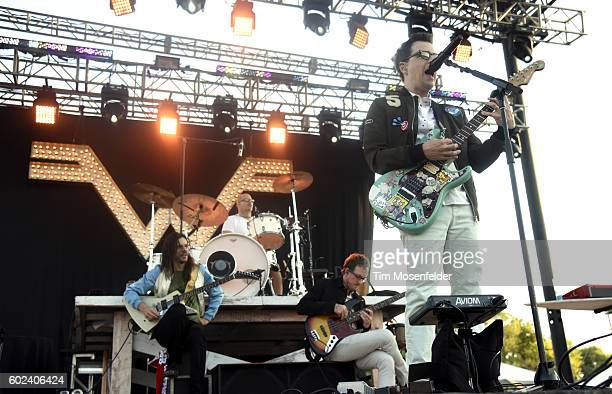 Brian Bell Patrick Wilson Scott Shriner and Rivers Cuomo of Weezer perform during City of Trees festival at Bonney Field on September 10 2016 in...