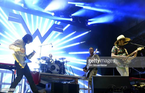 Brian Bell Patrick Wilson Scott Shriner and Rivers Cuomo of Weezer perform during the 2017 Hangout Music Festival at Hangout Beach on May 19 2017 in...