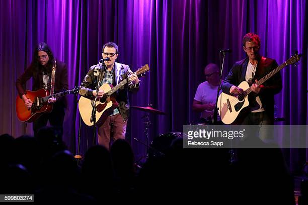 Brian Bell Rivers Cuomo Patrick Wilson and Scott Shriner of Weezer perform at An Evening With Weezer at The GRAMMY Museum on September 6 2016 in Los...