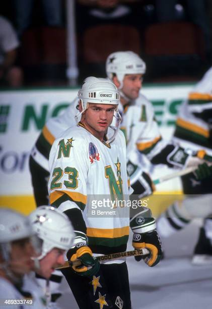 Brian Bellows of the Minnesota North Stars stands on the ice during warmups before Game 3 of the 1991 Stanley Cup Finals against the Pittsburgh...