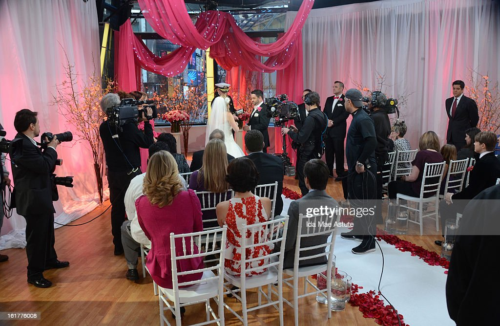 AMERICA - Brian Bondy suprised Melissa Cohn (now Melissa Bondy) with a marriage proposal and flash wedding live on 'Good Morning America,' 2/14/13, airing on the ABC Television Network. (ABC/Ida Mae Astute) MELISSA